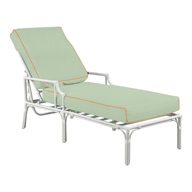 Haven Outdoor Chaise in Canvas Mint with Canvas Tuscany Welt