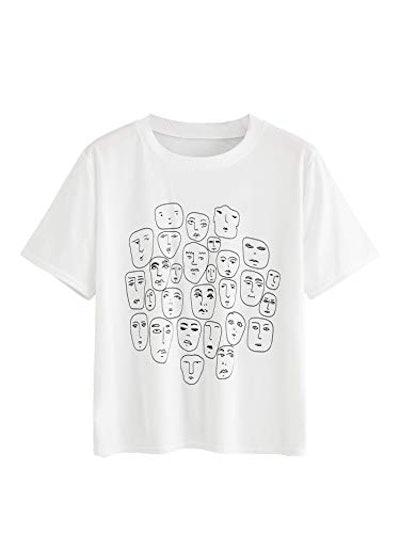 Romwe Graphic Printed Cartoon Portrait Short Sleeve T-Shirt