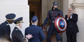 Wyatt Russell as John Walker in The Falcon and the Winter Soldier Episode 1
