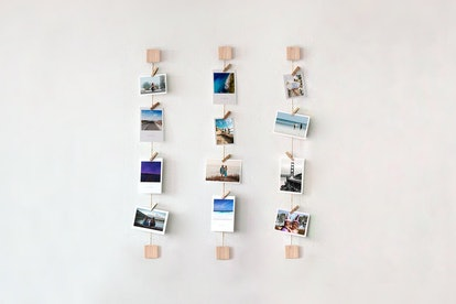 Ash Wooden Photo Wall Display with Mini Clothespins