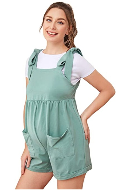 MakeMeChic Women's Tie Shoulder Pocket Front Maternity Cami Romper