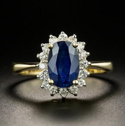 Antiques Estate 1.75 Carat Sapphire and Diamond Halo Ring