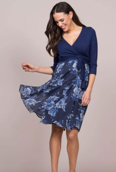 Navy Blue Floral Wrap Maternity Dress