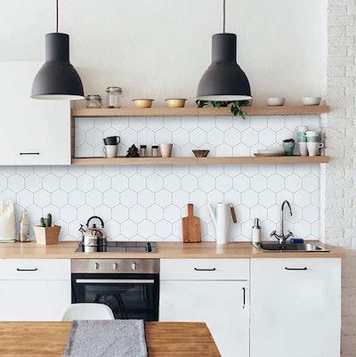 Fiula Hexagon White Wallpaper