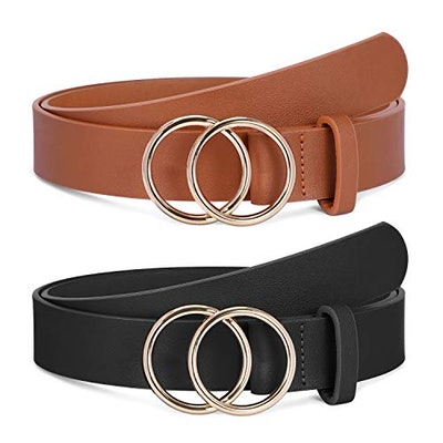 Double O-Ring Faux Leather Belt (2-Pack)