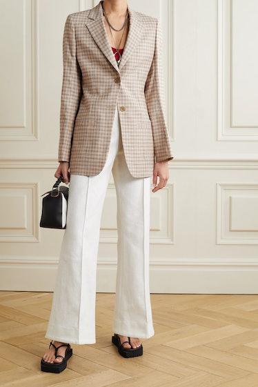 Checked Cotton-Blend Tweed Blazer
