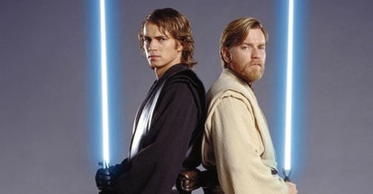 Hayden Christensen as Anakin Skywalker and Ewan McGregor as Obi-Wan Kenobi in Star Wars: Revenge of ...
