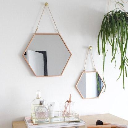 Geometric Copper Mirror - Small
