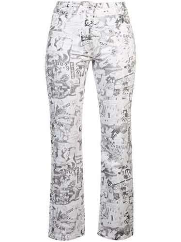 Cartoon-Printed Straight Jeans