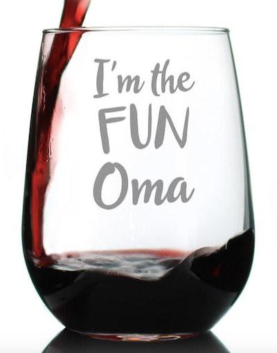 BevveeCo I'm the Fun Oma wine glass