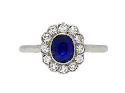 Edwardian Sapphire and Diamond Coronet Cluster Ring