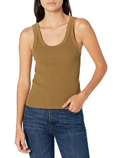 The Drop Michelle Scoop Neck Fitted Tank Top