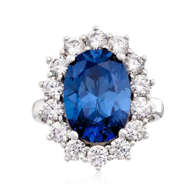 Simulated Sapphire and 1.80 ct t.w. CA Ring in Sterling Silver
