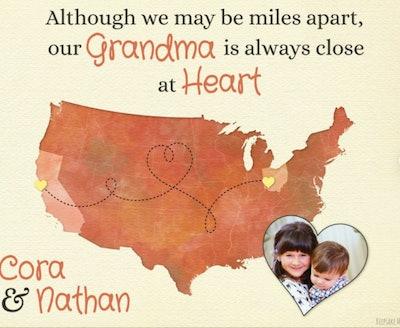 KeepsakeMaps Long Distance Gift for Grandma
