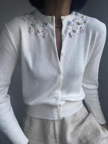 Vintage Embellished Mid-Century Petite Fleurs Cardigan