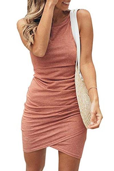 BTFBM Ruched Sleeveless Bodycon Mini Dress