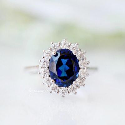Aquamarise Art Deco Sapphire Ring