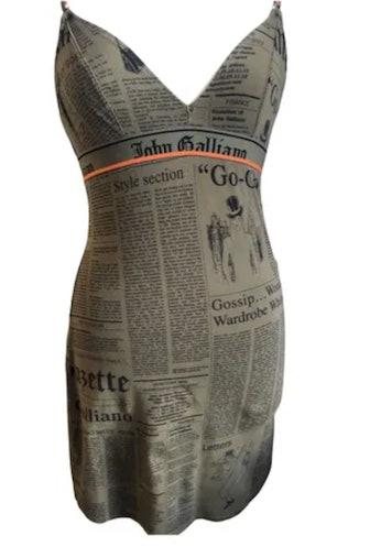 Newsprint Mini Dress In Khaki