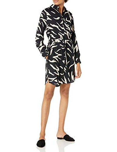 Daily Ritual Georgette Long-Sleeve Button Down Shirt Dress