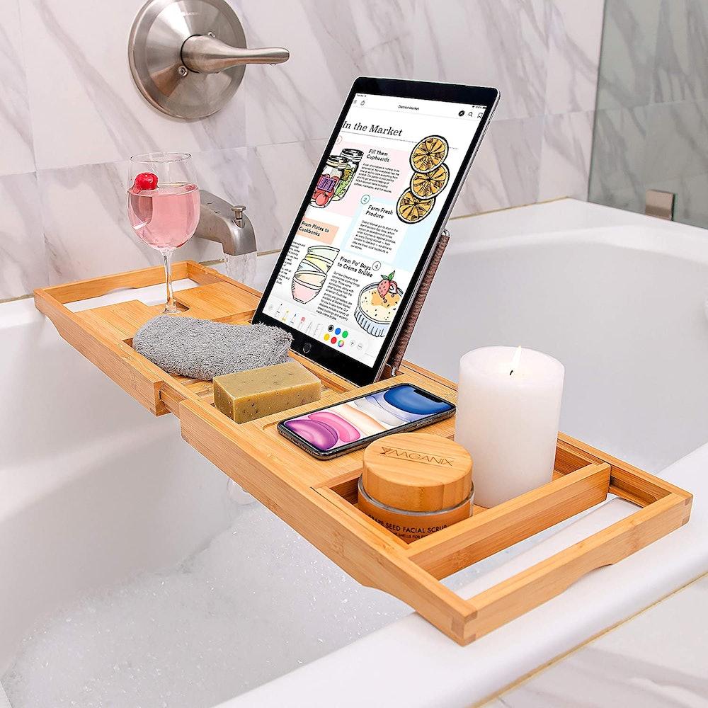 Handmaid Living Bamboo Bathtub Tray