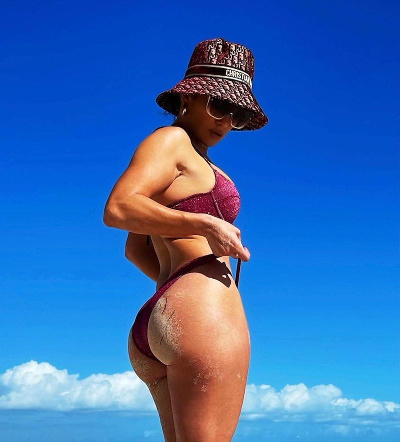 Jennifer Lopez in a two-piece bikini.