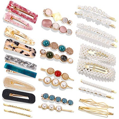 Cehomi Pearls Hair Clips (28 Pieces)