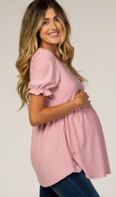 Swiss Dot Babydoll Maternity Blouse
