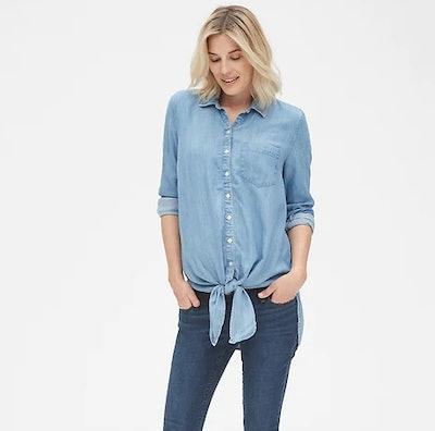 Maternity Tie-Front Shirt in TENCEL™
