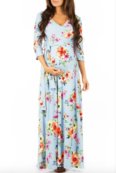 Maternity and Nursing Faux Wrap Floral Dress