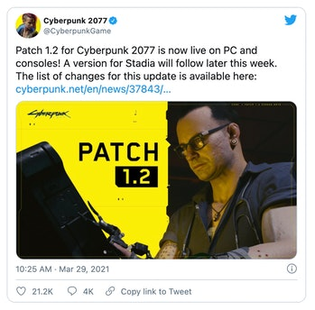 'Cyberpunk 2077' has received a patch addressing many issues that gamers complained about.