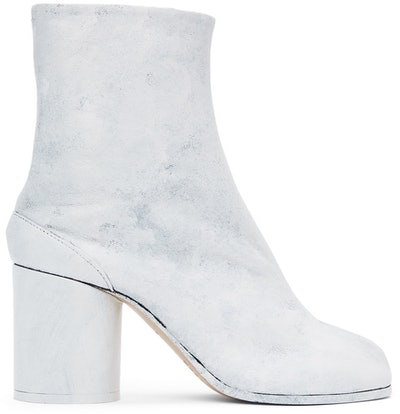 White Painted Tabi Boots