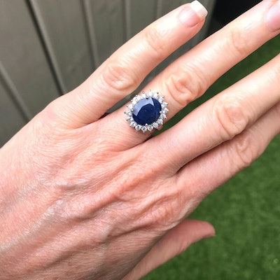 Saray Silver Genuine Real Sapphire Diana Silver Ring