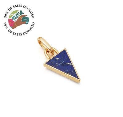 Lapis triangle clip-on pendant