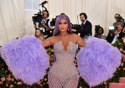 Kylie Jenner with purple hair at the Met Gala