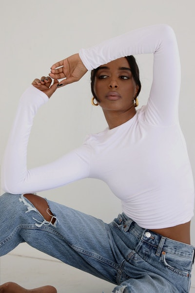Signature Long Sleeve Top White
