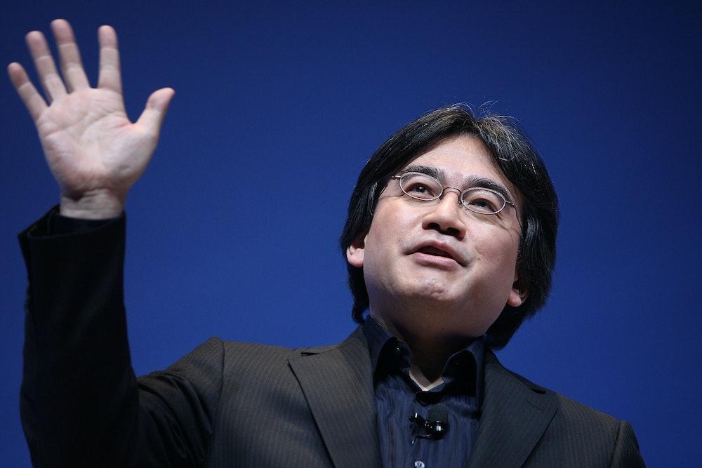 Satoru Iwata speaks at Nintendo's E3 briefing in June 2009.