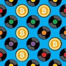 music records with bitcoin in the center concept art