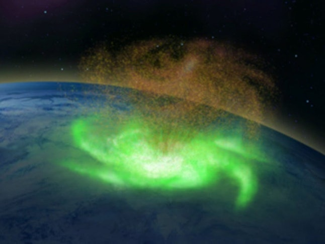 A 3D rendering of the space hurricane, with a green glowing swirl and sprinkles of orange plasma above Earth.