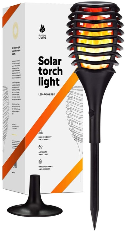 Fuego Lights Solar Tiki Torches with Flickering Flame