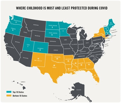 A map of the United States highlights the 10 best states for children in teal and the 10 worst states in yellow with all remaining states shaded grey.