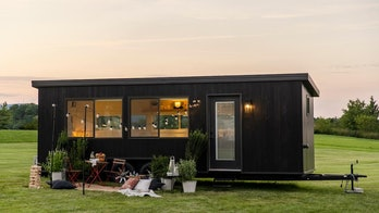 The exterior for Ikea's tiny house can be seen on a yard.