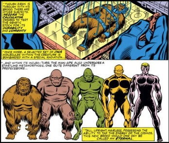 Celestials experimenting on Earth to create Inhumans in the comics.