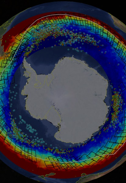 radar image of antarctic ice from sentinel-1 satellite