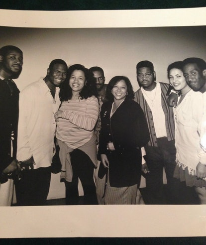 Writer Danyel Smith with Boyz II Men at the Billboard magazine offices in New York City in 1993.