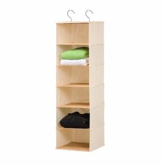 Six Shelf Hanging Vertical Closet Organizer