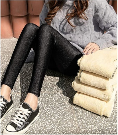 Hixiaohe Sherpa Fleece Lined Leggings
