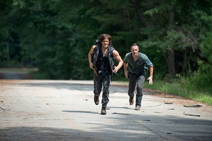 Rick and Daryl chase Jesus in Season 6 of 'The Walking Dead.' Photo via AMC