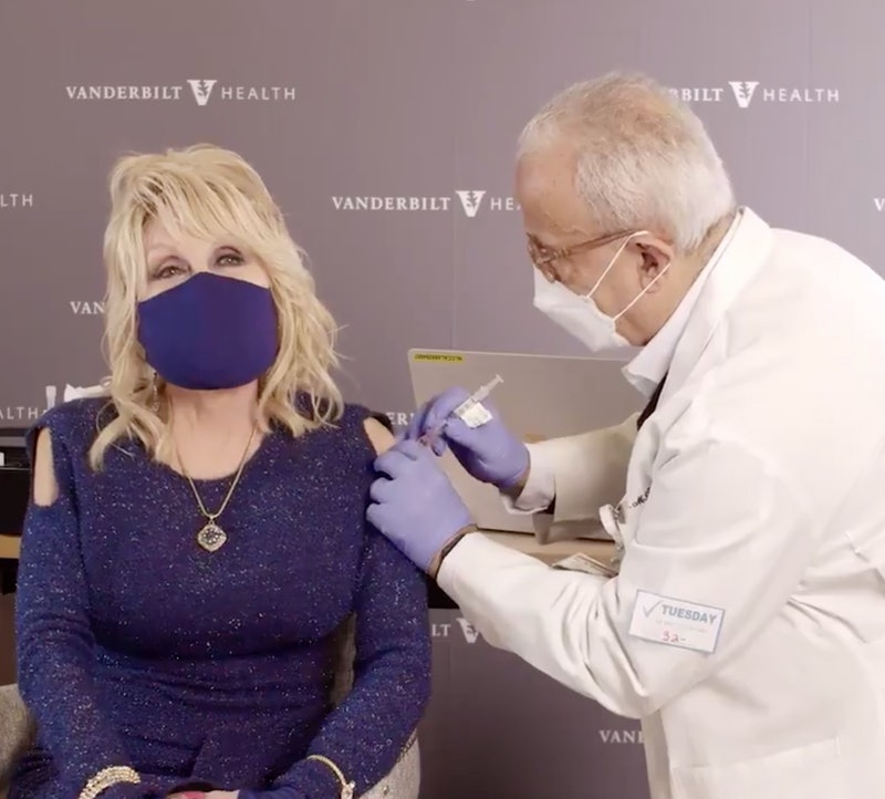 Dolly Parton receives her moderna coronavirus vaccination from a doctor