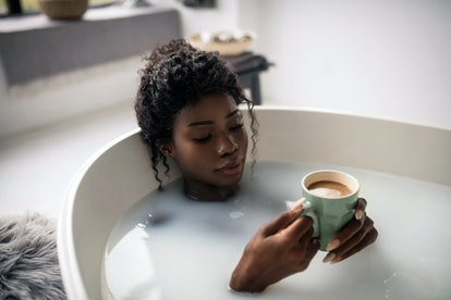 Sharing self-care routines like taking a bath to relax is a fun Zoom icebreakers.