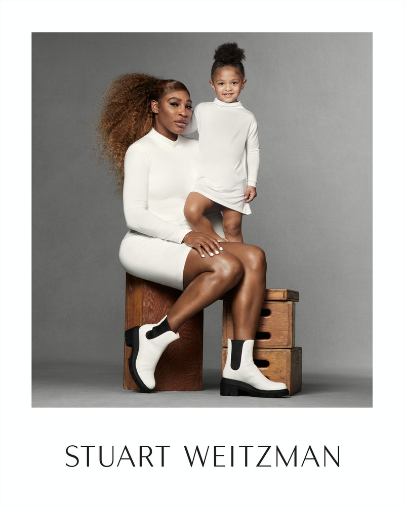 Serena Williams and her daughter appear in Stuart Weitzman's Spring 2021 campaign.